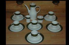 RAR-60er-70er-Melitta-Spacig-Retro-Kaffeeservice-Gruen-Weiss-komplett-23tlg