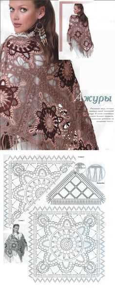 Pachtige omslagdoek met duidelijk haakschema. Kies je eigen kleuren en geniet. Crochet Stitches, Crochet Patterns, Crochet Shawls And Wraps, Crochet Diagram, Lace Skirt, Free Pattern, Granny Squares, Fashion, Cape Clothing