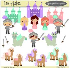 Instant Download Fairytale Digital Clip Art Web Design, Card Making, Scrapbooking, Kawaii - Personal and Commerical Use. $2.50, via Etsy.
