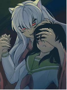 InuYasha and Kagome. Demon mode. Run kagome, ruuuun....... This is kinda bad, but this seems kinda kinky.....