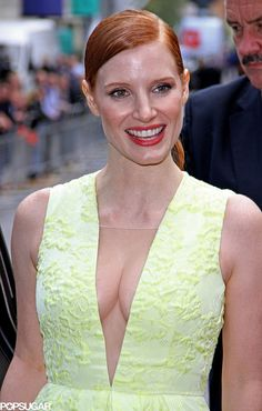 Jessica Chastain took the plunge in a yellow dress at a screening of her movie Wilde Salome in London on Sunday.