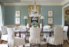 not necessarily a fan of the decor but i love the color scheme for this dining room.