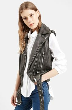Topshop+'Sylvia'+Leather+Biker+Vest+(Nordstrom+Exclusive)+available+at+#Nordstrom  Nice coloring and proportions on this.