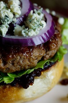 Beef Burgers with Bacon Jam & Gorgonzola-Can't wait to make this! Nothing like a great burger