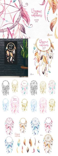 Fill your work with dreamy positivity with these dreamcatchers. This is a set of high quality hand-painted watercolor and gold separate dreamcatchers and feathers. Perfect graphics for adding a bohemian touch to DIY projects, cards, wedding invitations, greeting cards, photos, posters, quotes, blogs and more.