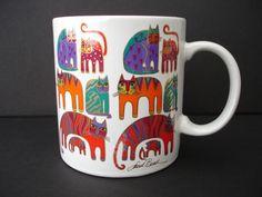 Laurel Burch Cats FANTASTIC FELINES Coffee Mug Cup 1988 Signed Vintage EUC