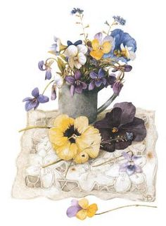Artist ~ Marjolein Bastin - Spring Violets from 'Nature Sketches' Watercolor Flowers, Watercolor Paintings, Watercolors, Marjolein Bastin, Fleurs Diy, Nature Sketch, Nature Artists, Dutch Artists, Arte Floral