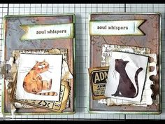 Mixed Media ATC CARDS Using washi tape and paper / Easy Distress and Oxide Inks background. Products used: random scrap papers cat washi tape finnabair- . Atc Cards, Washi Tape, Mixed Media Art, Make It Yourself, Paper, Creative, Easy, Artwork, Artist