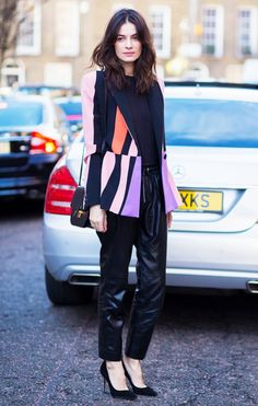 Leila Yavari, Stylebop.com Fashion Director, in a bold printed blazer and leather trousers