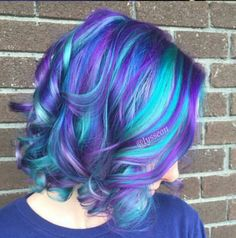 Blue purple dyed hair