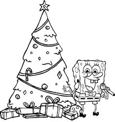 Spongebob Happy Christmas Coloring Page