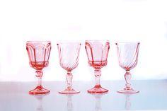 Pink Glass Goblets. Otis + Pearl Vintage Rentals.