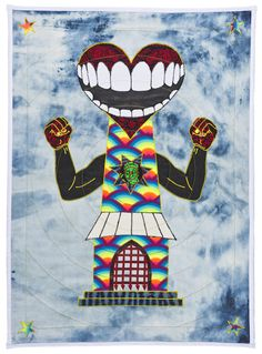 """Ben Venom, Open Wide Hand-made Quilt with Recycled Fabric 27"""" x 37"""" 2015"""