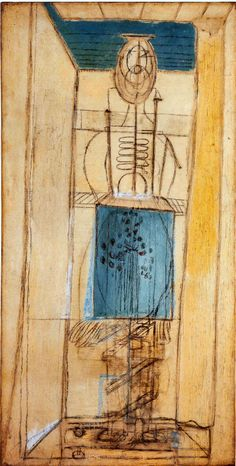 Louise Bourgeois.  Standing Figure 1945 -1947.  Oil and charcoal on canvas, 44 x 22 inches.