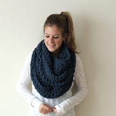 Knit Scarf Chunky Cowl Denim Chesapeake Cowl by PeonyKnits on Etsy, $65.00