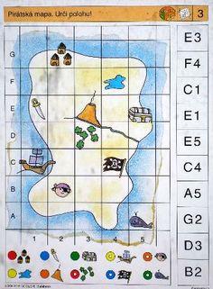 Soubor Logico Piccolo - Geometrie Geometrie 2 - Představivost - Orientace - Pohyb Určeno pro děti od 6 - 8 let. Budování geometrických představ a geometrické myšlení je založeno na Coding For Kids, Math For Kids, Games For Kids, Brain Activities, Montessori Activities, Pirate Treasure Maps, Printable Preschool Worksheets, Charts For Kids, Geometry Tattoo