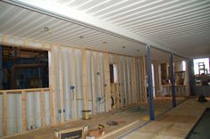 Shipping container interior construction.