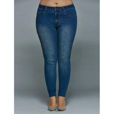 Plus Size High Waisted Skinny Jeans (DENIM BLUE,5XL) in Bottoms   DressLily.com