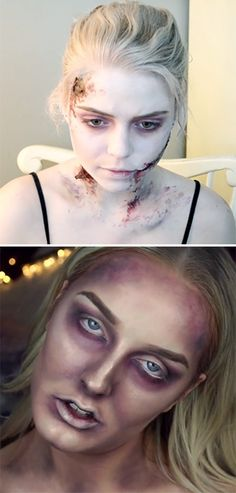 5 Best Zombie Makeup Tutorials That Are Easy To Copy - Halloween Make-up - Halloween Zombie Makeup, Zombie Hair, Zombie Prom, Maquillaje Halloween, Easy Halloween, Terrifying Halloween, Halloween Ghosts, Creepy, Scary Makeup