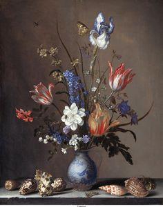 The Athenaeum - Flowers in a Wan-Li Vase, with Shells (Balthasar van der Ast - )