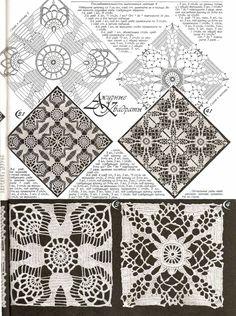 I like the pattern on the left.  crochet Lace Granny Square häkeln