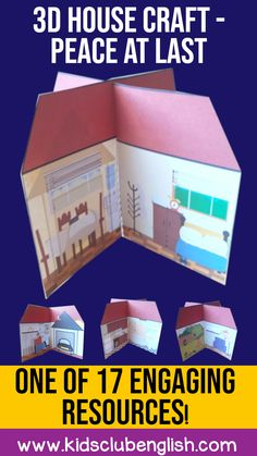 This super-easy 3D house craft is perfect for preschoolers or lower primary students. Use as part of a unit on home, or complement the Peace at Last Story. There are several different templates available for you to vary your skills focus or level of challenge. This craft also makes a really nice tool for small world play. It's part of the Peace at Last Activity Pack, along with 16 other resources. Great value at only €6.20. You can also find it on TpT in the Kids Club English store. Literacy Stations, Literacy Skills, Peace At Last, English Store, Sequencing Cards, Small World Play, Group Work, Crafts For Kids To Make, Mini Books