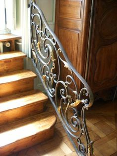 Love the stairs and especially the railing!gebruik railing als balustrade Iron Work, Stair Railing, Interior Design Tips, Grand Staircase, Staircase Design, Victorian Homes, Rug, Stairways, Wrought Iron