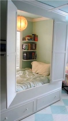 Closet Bed, what a great reading area