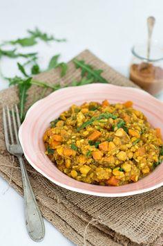 Risotto integrale con verdure arancioni alle spezie orientali