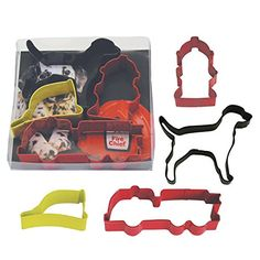 R&M Cookie cutter set Fire Truck Dog 4 pc set New New colorful 4 pc Cookie cutter set with Fire engine Dog Hydrant and Fire Man Hat. Recipes on back of box too! Snowflake Cookie Cutter, Snowflake Cookies, Cookie Cutter Set, Fireman Birthday, Baking Supply Store, Fire Helmet, Steel Cutter, Thing 1, Baking Accessories