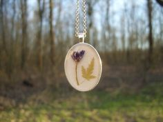 Real flower necklace - Alpine squill flower and tiny maple leaf - Pressed flower…