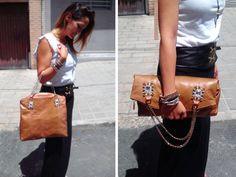 Sophia · Shopper Piel de pitón KURTUS marrón/ORO 2 Broches de piedras Swarovski y piedras preciosas. Fabricado en España http://www.lugadashoesandbags.com/