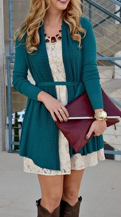 Love this! Especially the teal sweater, but that dress is too short for me, I would wear it as a tunic.