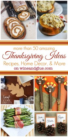 More than 50 Great Thanksgiving Ideas on www.wineandglue.com #recipes #food #holidays
