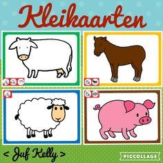 Kleikaarten De kleuters maken vlekken voor de koe, manen voor het paard, wol voor het schaap en hekken voor het varken Melk, Cow, Comics, School, Corona, Cattle, Comic, Schools, Comic Books