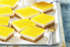 Thanks to mango-flavoured jelly crystals, you can enjoy the best taste of summer, even when fresh mangoes aren't in season – this cheesecake slice is heavenly!