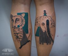Jade Tomlinson and Kev James, the artistic duo behind Expanded Eye, create beautiful cubist tattoos that give this once-revolutionary art movement a new modern following.