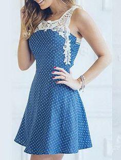 »Sweet Style Scoop Neck Sleeveless Polka Dot Hollow Out Women's #Dress« #polkadots #vintage #fashion #fashionandaccessories