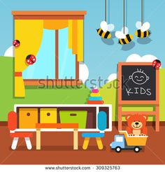 Preschool kindergarten classroom with desk, chairs, chalkboard and toys. Flat style cartoon vector illustration with isolated objects. - stock vector