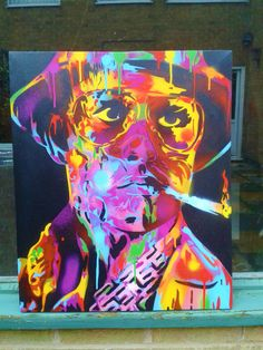 Hunter S Thompson painting,fear & loathing in Las Vegas,stencils,spray paints,psychedelic,Johnny Depp,movies,film,hand made,hats,glasses,lsd by AbstractGraffitiShop on Etsy