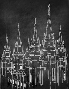 Free Chalkboard Temple Printable - Measured by the Heart Spiritual Church, Chalkboard Art, Chalkboard Printable, Free Printable, Salt Lake Temple, Lds Church, Church Ideas, Temple Pictures, Lds Art