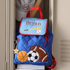 Personalized All Star Sports Backpack for Boys - this site has all the cutest back to school supplies for boys and girls!