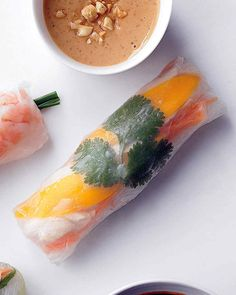 Rice noodles, chicken, and mango, make up the filling of these Vietnamese-inspired summer rolls. Firm vermicelli rice noodles are commonly added to summer rolls, but rolls can be made without them. Experiment with different fresh fillings and flavor combinations.