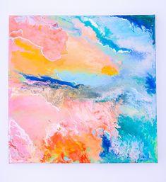 F I R E A N D I C E - Fluid acrylic art painting on canvas #Etsy #Fluidart #homeinterior #acrylicpainting Fluid Acrylics, Rainbow Art, Acrylic Art, Home Interior, Painting Techniques, Modern Art, Abstract Art, Original Art, Canvas