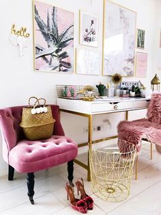Pink + gold work space.