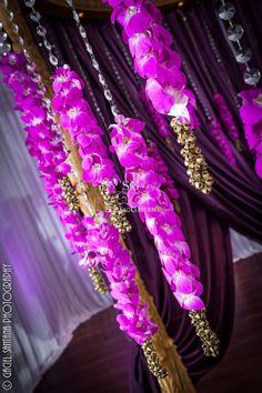 Indian Wedding, Boynton Beach BAPS Mandir, Suhaag Garden, Indian wedding decorators, Florida wedding decorators, wooden carved mandap, lavender drapes, crystals, orchids, brass bells