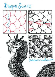 "Drawing Doodle - I discovered the tangle pattern / ""Zentangle"" drawing movement through mail art swapping this past year. At first, doing this technique was kind of hard to do because it is pattern-bas… Zentangle Drawings, Doodles Zentangles, Doodle Drawings, Doodle Art, Pen Doodles, Tangle Doodle, Tangle Art, Doodle Patterns, Zentangle Patterns"