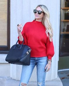 62e844ff382 Gorgeous Anthropologie red sweater on Jenna of Lunchpails and Lipstick  paired with distressed denim