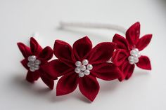 SALE 20% off Girl headband - Red Girl Kanzashi Flower headband - Christmas gift. $14.99, via Etsy.