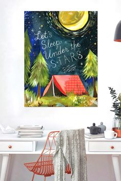 """We can't wait for summer and fun nights -  """"Let's Sleep Under The Stars""""! Katie Daisy inspires with whimsical and fanciful typography on this removable wall decal by Oopsy Daisy™. This stickable posters can be stuck and re-stuck without stretching or ripping."""
